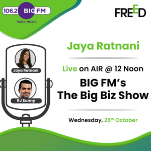 """An exclusive interview of Jaya Ratnani, Managing Partner Freed Financial Services on 106.2 Big FM with RJ Sunny The Big Biz Show today @ 12 noon, where Jaya Ratnani shares her expert views on """" How to Manage Home Loan debt in these challenging economic situations """". Tune in to Learn More!"""