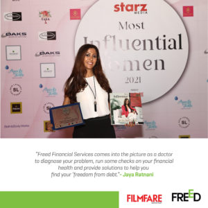 Ms. Jaya Ratnani, Managing Partner- Freed Financial Services felicitated by Filmfare ME for her achievements and was presented a special edition of Coffee Table Book that featured her success story.